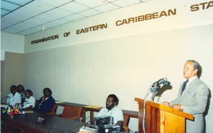 Sir John Compton addresses an early meeting of OECS Heads of Government