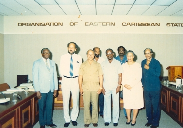 Sir John Compton poses with Heads of Government and Heads of Delegations at an OECS Meeting